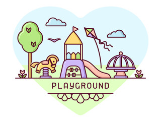 Playground concept with slide, seesaw and carousel. Cartoon style vector illustration.