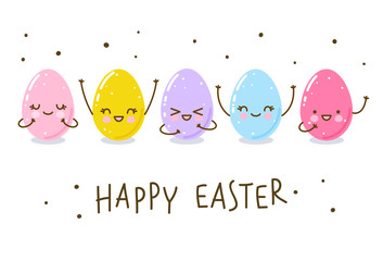 Easter greeting card with cute happy eggs
