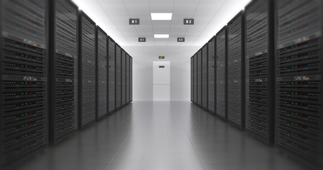 Server Racks In a Modern Data Center. Computer Racks All Around. Technology Related 4K 3D Render.