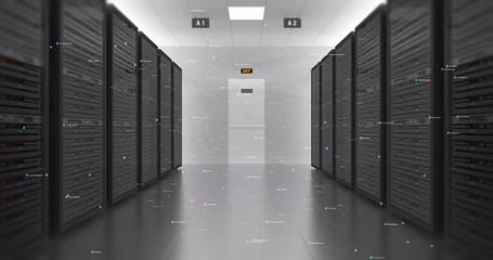 Server Racks In a Modern Data Center. Computer Racks All Around With Flying Numbers. Technology Related 4K 3D Render.