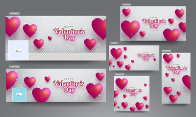 Social media header and poster set decorated with red heart shapes for Valentine's Day.