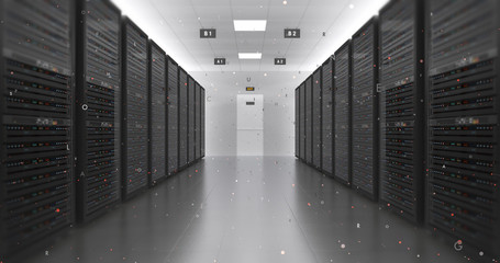 Modern Server Room Environment. Computer Racks All Around With Flying Texts. Technology Related 4K 3D Render.