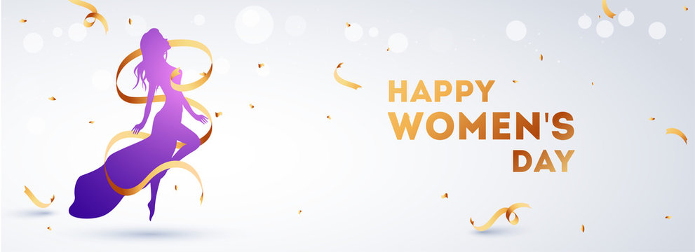 Happy women's day header or banner design with woman character on white bokeh background.