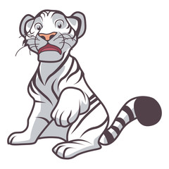 little white tiger cartoon sitting