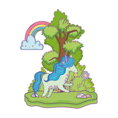 beautiful little unicorn with rainbow in the landscape
