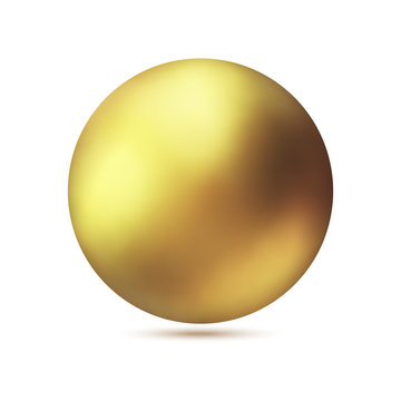 Realistic gold metal sphere, vector golden ball.
