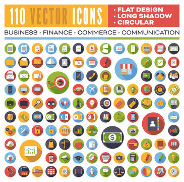 Set of 110 flat design long shadow round vector icons for web, print, apps, interface design: business, finance, shopping, communication, computer, media.