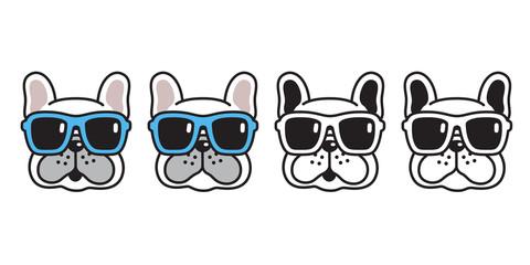 dog vector french bulldog sunglasses icon cartoon character puppy logo illustration white