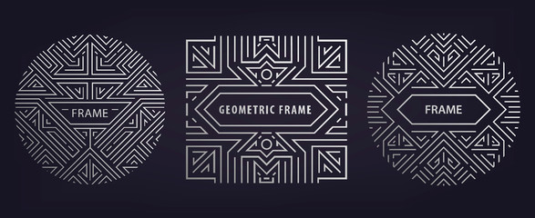 Set of vector Art deco golden borders, frames. Creative templates in style of 1920s. Trendy cover, graphic poster, gatsby brochure, design, packaging and branding. Geometric shapes
