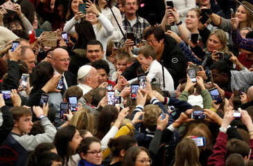 Pope Francis leads the weekly general audience at Paul VI hall at the Vatican