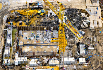 Aerial view of foundation work on a construction site.