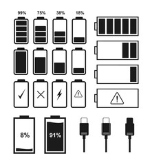 Set of battery indicator icons and charger connector. Vector illustration