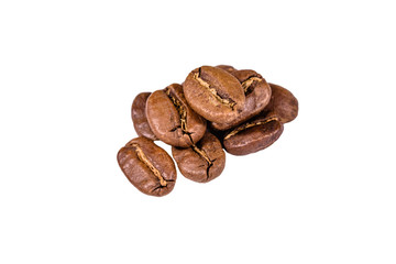 Pile of the coffee beans isolated on a white background