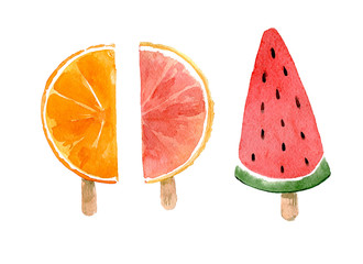 Set of watermelon and citrus ice-creams. Hand drawn watercolor illustration isolated on white background