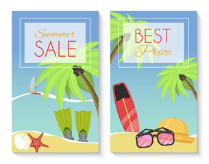 Summer sale set of banner, brochures, flyers, posters. Best price. Vacation on seaside with palms, flippers, surf, hat, sunglasses, starfish, shell, sailboat. Discount for summer equipment.