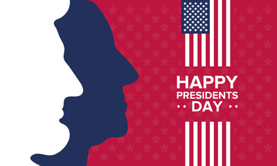 Happy Presidents day in United States. Washington's Birthday. Federal holiday in America. Celebrated in February. Poster, banner and background Fotomurales