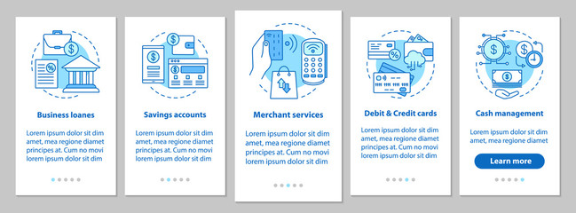 Banking services onboarding mobile app page screen with linear c