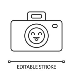 Smiling photo camera linear icon