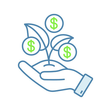 Seed money color icon
