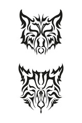Wolf face tribal style, for decorative, t shirt, and many more