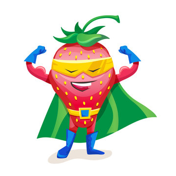 Cute strawberry in cloak of superhero and mask, showing strength.