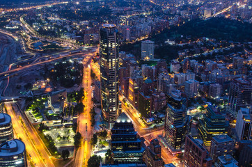 Fototapete - The skyline of Santiago de Chile by night.