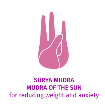 Element hand in yoga Surya mudra - mudra of the sun. Vector illustration for a yoga studio, spa, postcards, souvenirs. Hand drawn pink hand in gesture for health and energy on a white background
