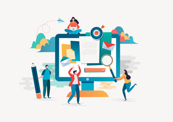 People fill out a form. Online application. Flat cartoon character graphic design. Landing page,banner,flyer,poster,web page