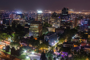 The skyline of Santiago de Chile by night.