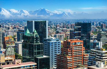 Fototapete - Aerial view of the financial district at Santiago de Chile
