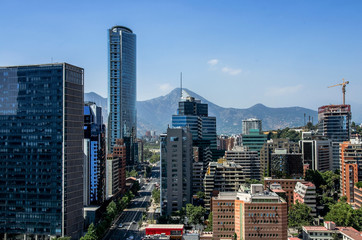 Wall Mural - Aerial view of the financial district at Santiago de Chile