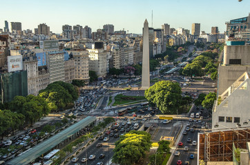 Fototapete - Obelisco de Buenos Aires (Obelisk), historic monument and icon of city