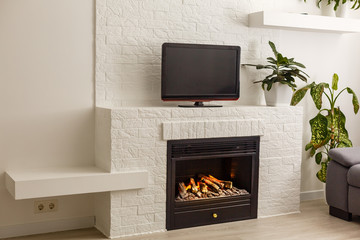 Room in a modern style. There is a TV on the white wall, white rack with a flower in vase, TV remote, decorations in a form black fireplace
