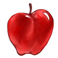 Bright juicy hand drawn  watercolor red cartoon apple isolated at white background. Fresh sweet  ripe fruit.
