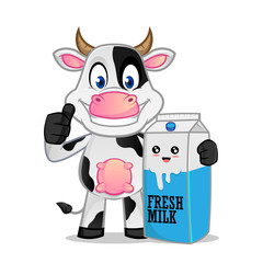 Cow and a milk bottle