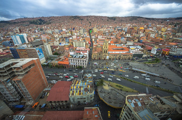 LA PAZ, BOLIVIA - DESEMBER 12, 2016: Central square of La Paz. Landscape of general view in La Paz, Bolivia