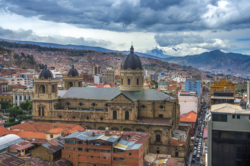 LA PAZ, BOLIVIA - DESEMBER 12, 2016: Central square of La Paz. Landscape of general view in La Paz, Bolivia