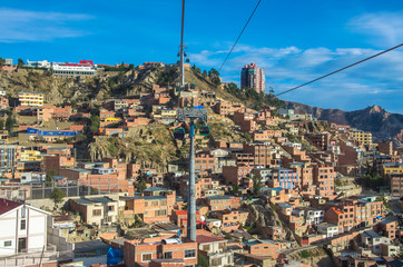 Cable car in La Paz city, Bolivia