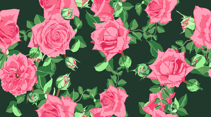 Vector Roses Pattern, Wedding Design.