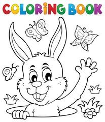 Poster Voor kinderen Coloring book lurking Easter bunny