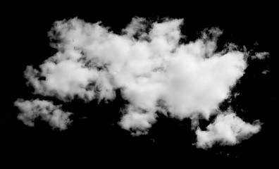 Fluffy cloud isolated on black background