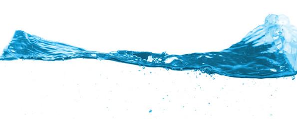 Blue water split line on white background