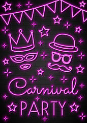 Carnival Party - concept of a neon invitation card. Vector