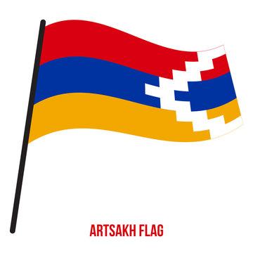 Artsakh Flag Waving Vector Illustration on White Background. Artsakh National Flag.