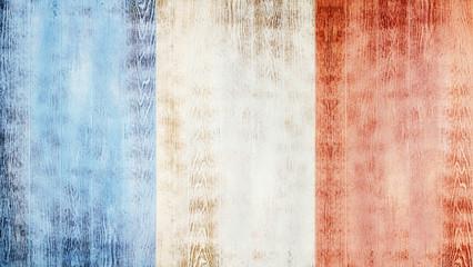 Fotoväggar - Flag of France on white wooden planks