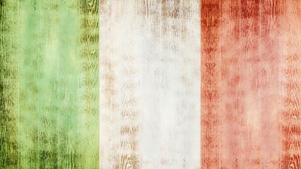 Fotoväggar - Flag of Italy on white wooden planks