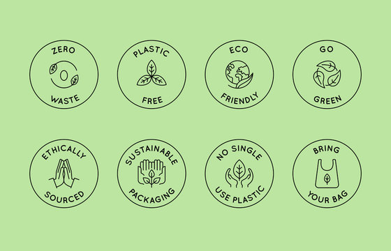 Vector set of design elements, logo design templates, icons and badges in trendy linear style - zero waste and plastic free concepts