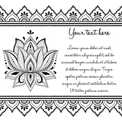 Set of Mehndi hand drawn symbol Lotus pattern and seamless border for Henna drawing and tattoo. Decoration in oriental, Indian style.