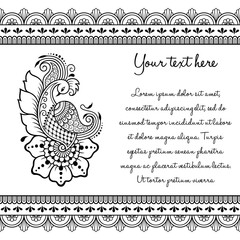 Set of Mehndi hand drawn symbol Peacock pattern and seamless border for Henna drawing and tattoo. Decoration in oriental, Indian style.