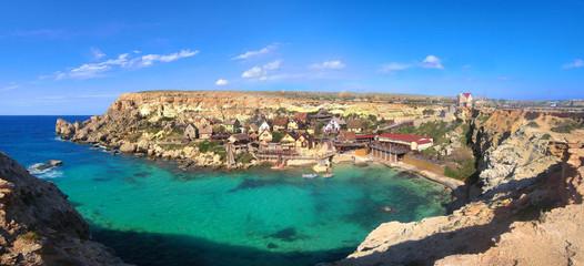 Malta, Europe, Popeye Village - Panorama - Beautiful Panoramic View
